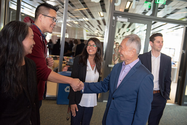 Takei greeting guests at the Higgs VIP reception