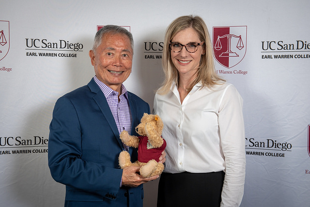 Takei with Earl Warren College Provost Emily Roxworthy and Warren College mascot Bearl